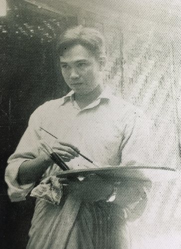 Aung Khin painting in his youth